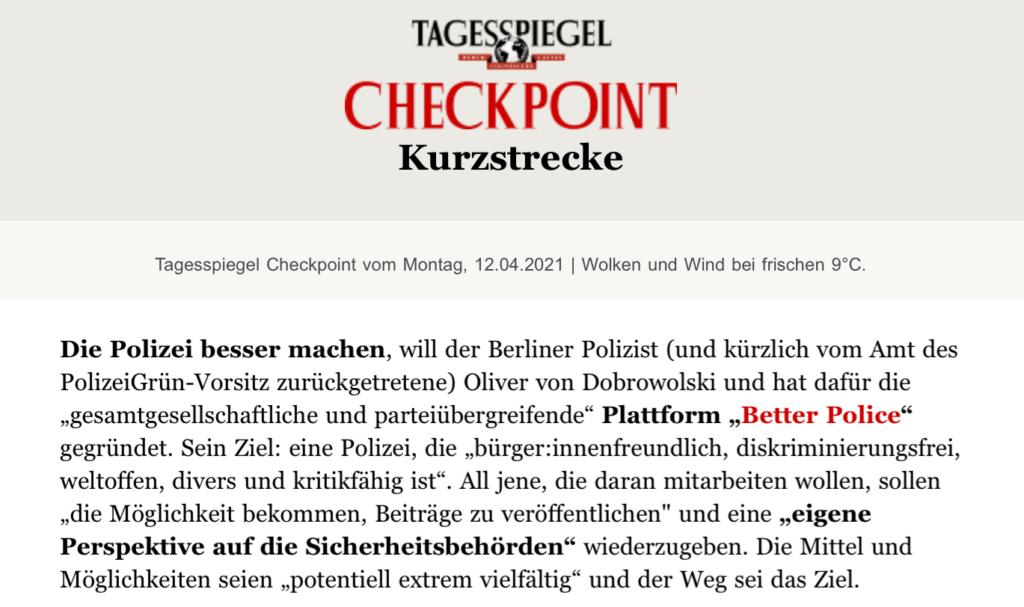 BetterPolice im Tagesspiegel Checkpoint vom 12.04.2021